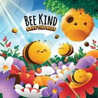 Honey Bee Protection with Cute Bees Concept vector