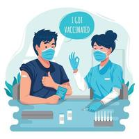 Man Giving Thumb after COVID-19 Vaccination Concept vector