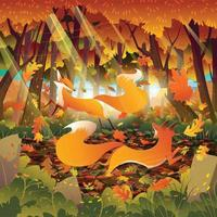 bosque de otoño con un par de zorros concepto vector