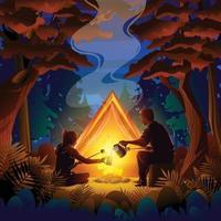 concepto de campamento de otoño nocturno vector