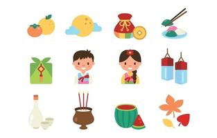 Happy Chuseok Icon Set vector