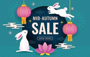 Mid Autumn Sale Promotion Poster vector