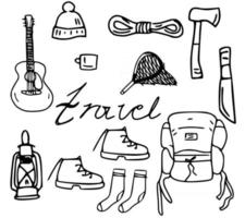 a large black and white set of icons on the theme of hiking vector