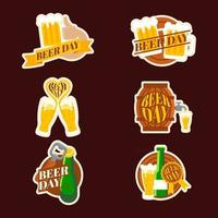 Various Beer Day Stickers vector