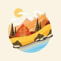Autumn mountain scenery Illustration vector
