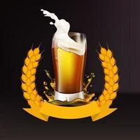 cerveza realista con corona de cebada vector