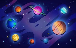 planetas en galaxia vector