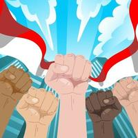 Different Hands Rise with City Background vector