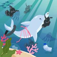 Dolphin Swimming with Plastic vector