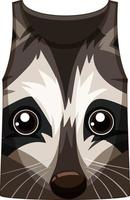 Tank top with face of raccoon pattern vector