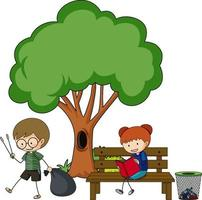 Two kids doing different activities with a big tree isolated vector