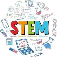 logotipo de educación de tallo colorido con elementos de aprendizaje vector