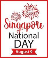 Singapore National Day font banner with firework vector