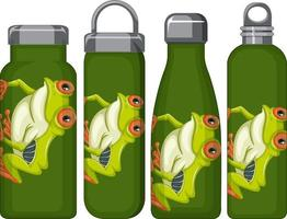 Set of different thermos bottles with frog pattern vector