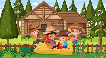 Scene with many kids planting flowers in the garden vector