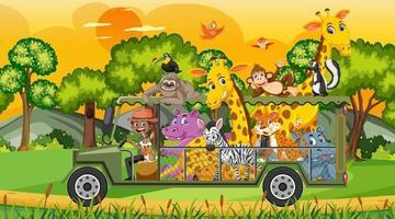 Safari scene with wild animals in the cage car vector