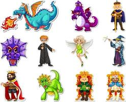 Sticker set with different fairytale cartoon characters vector