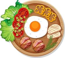 Top view of breakfast set in a dish in cartoon style isolated vector