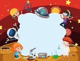 Empty cloud banner with kids in technology theme vector