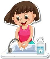 A sticker template with a girl washing hands with soap vector