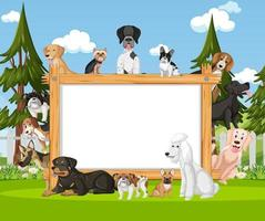 Empty wooden frame with various breeds of dogs in the park vector