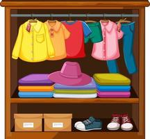 Clothes in the wardrobe vector