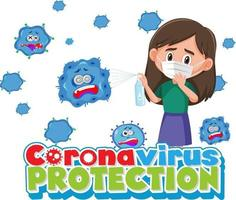 Coronavirus Protection banner with character wearing medical mask vector