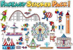 Sticker set with amusement park and funfair objects vector