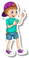 Sticker template with a boy cartoon character isolated vector