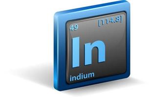 Indium chemical Chemical symbol with atomic number and atomic mass vector