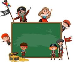 Empty blackboard with many pirate kids cartoon character vector