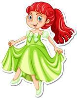 Beautiful princess cartoon character sticker vector