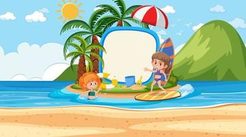 Kids on vacation at the beach daytime scene with an empty banner vector