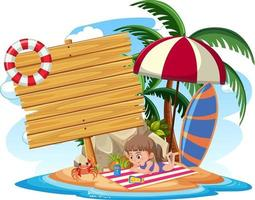 Empty banner with kids character on summer vacation at the beach vector