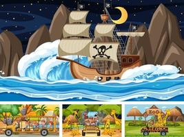 Set of scenes with pirate ship at the sea and animals in the zoo vector