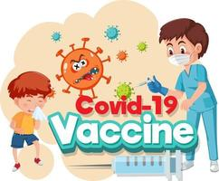 Doctor and kid patient cartoon character with Covid-19 vaccine font vector