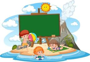 Empty banner template with kids on vacation at the beach vector