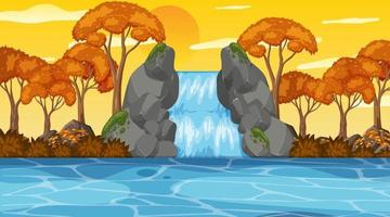 Nuture scene with waterfall in the forest and river at sunset time vector