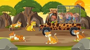 Safari at sunset time with many children watching leopard group vector