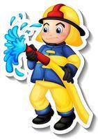Sticker design with a fireman cartoon character vector