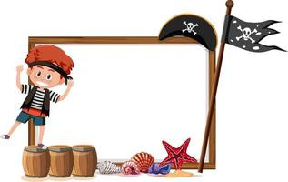 A pirate boy cartoon character with blank banner template vector
