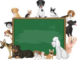 Empty blackboard with various breeds of dogs vector