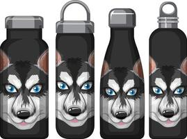 Set of different black thermos bottles with siberian husky pattern vector
