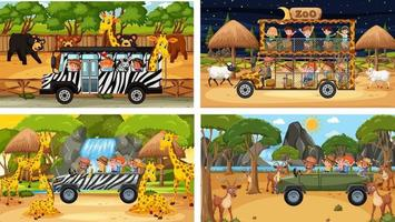 Set of different safari scenes with animals and kids cartoon character vector