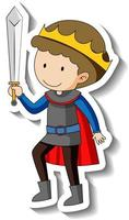 Sticker template with a boy wearing king costume isolated vector