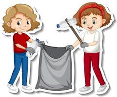 Diseño de pegatinas con niños recogiendo basura. vector