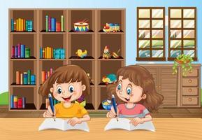 Two kids doing homework in the room scene vector