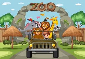 Zoo scene with happy animals in the car vector