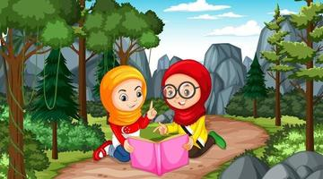 Muslim kids wears traditional clothes reading a book in the forest vector