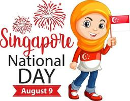 Singapore National Day banner with a muslim girl holds Singapore flag vector
